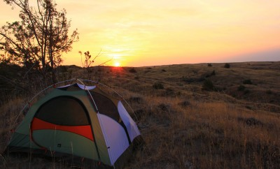 camping tent at sunrise
