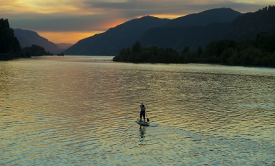 Sunset paddle boarding on the lake