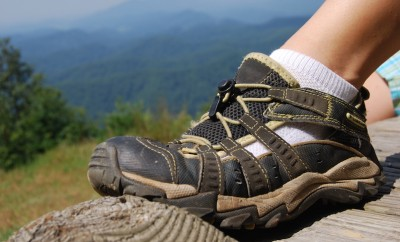 columbia hiking shoes resting on wood