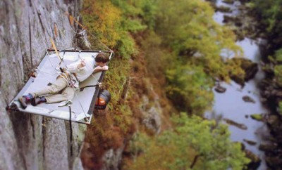 man cliff camping in snowdonia