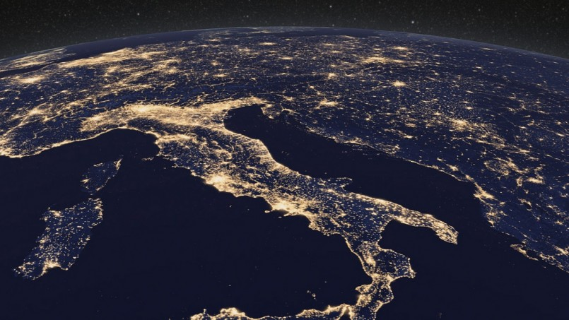 Earth at night from space over Europe