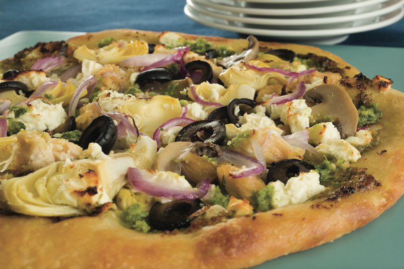 greek pizza with artichokes and olives