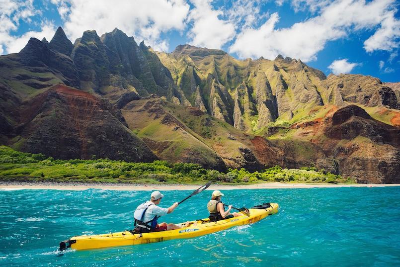 two people kayaking in hawaii