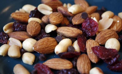 trailmix with almonds peanuts and dried cranberries