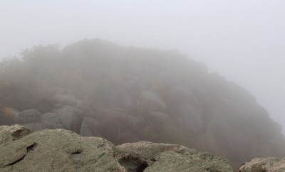 old rag mountain in fog