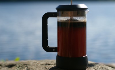 brew French press coffee while camping