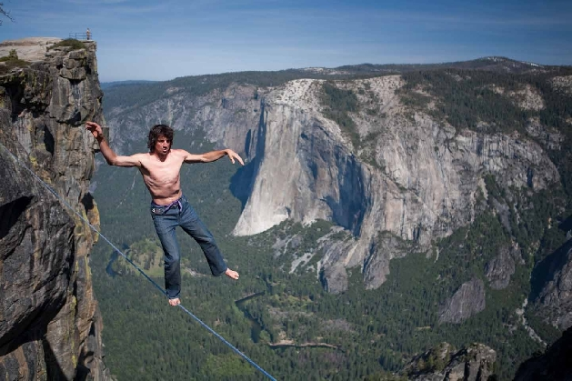 Dean Potter slacklining in Yosemite