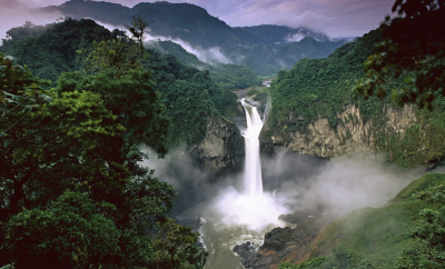 waterfall in amazon rainforest
