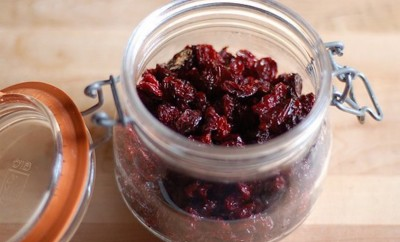 homemade dried cherries in jar