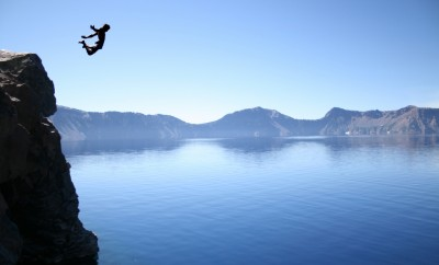 epic lake cliff jumping
