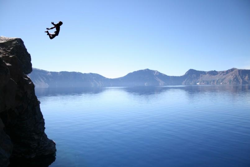 epic lake cliff jumping