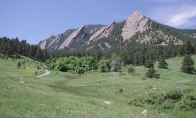 blue skies at the flat irons Boulder Colorado