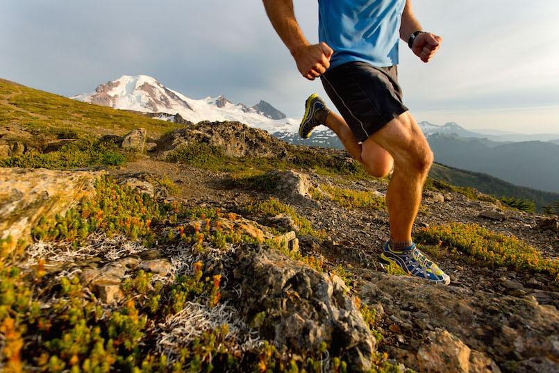 man trail running