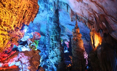 colorful interior of cave