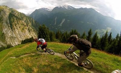 two men doing alpine mountain biking