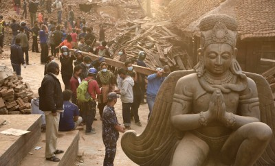 Durbar Square which was severly damaged after the major earthquake on 25 April 2015