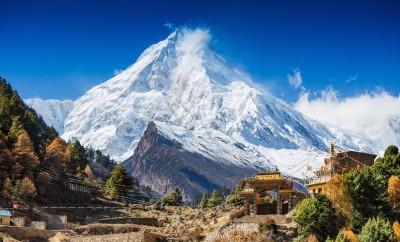 Himalayas mountain landscape. Mt. Manaslu in Himalayas, Nepal