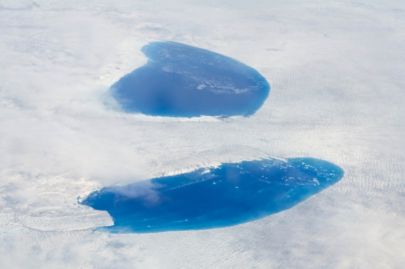 Supraglacial Lakes over the Ice Sheet in Greenland - A supraglacial lake is any pond of liquid water on the top of a glacier. They may reach kilometers in diameter and be several meters deep.