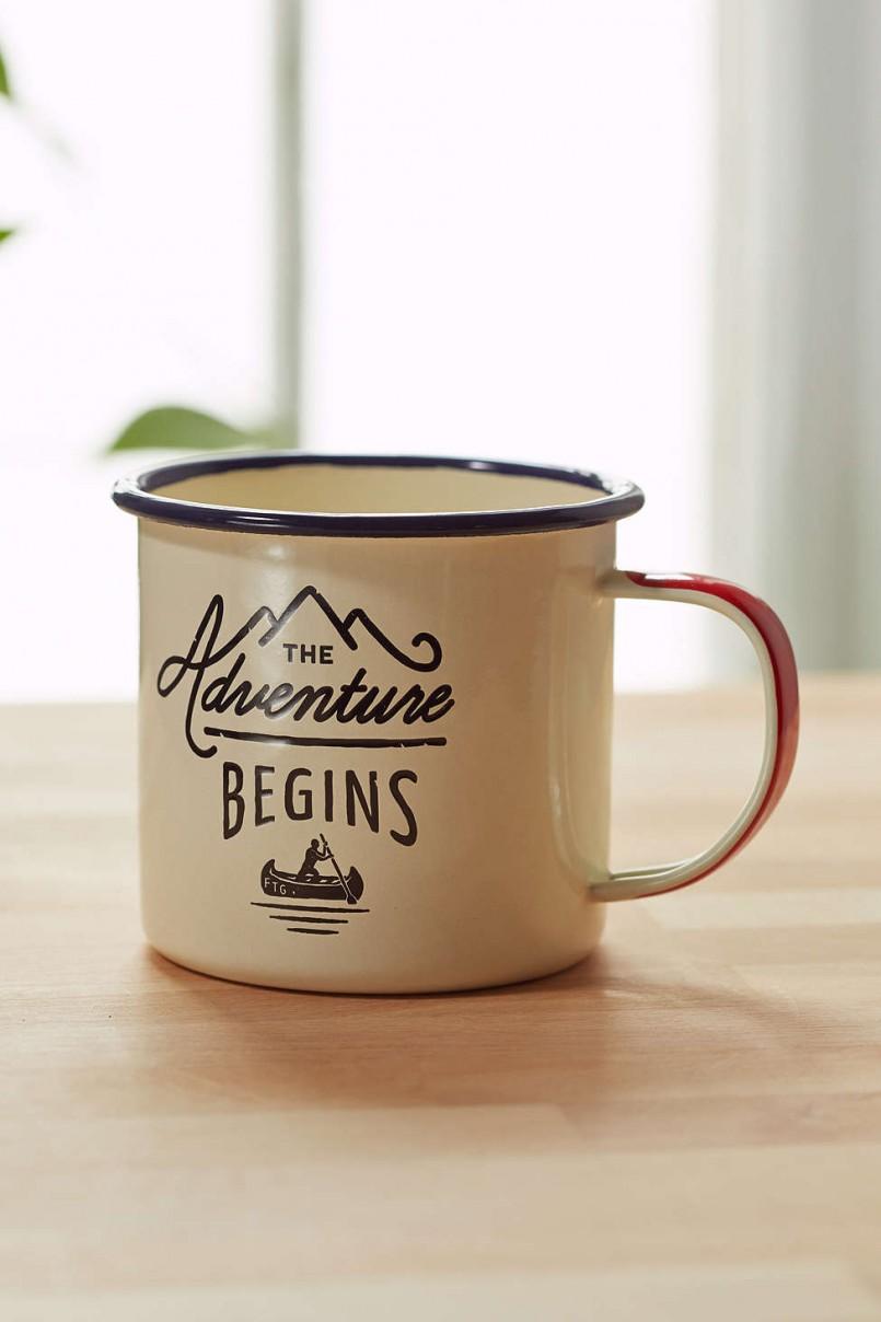 adventure begins enamel mug urban outfitters