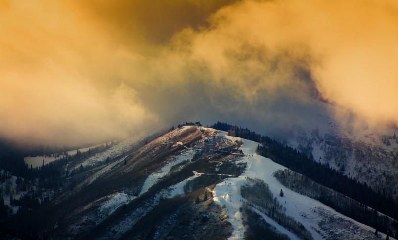 clouds over ski slope