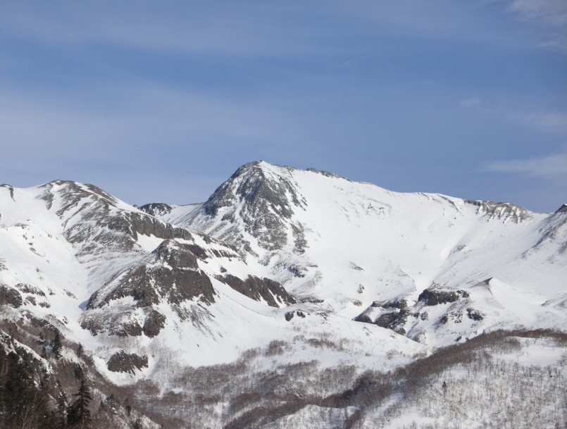 Changbaishan in winter with snow,which located in North china close to North Korea