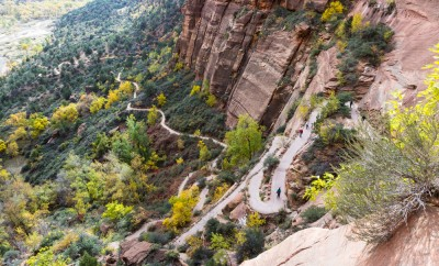 switchback trail in the Angels Landing hike at Zion National Park with autumn colors