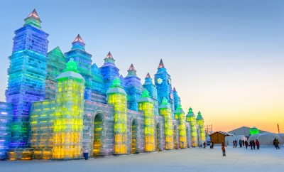 Ice building in Harbin Ice and Snow World