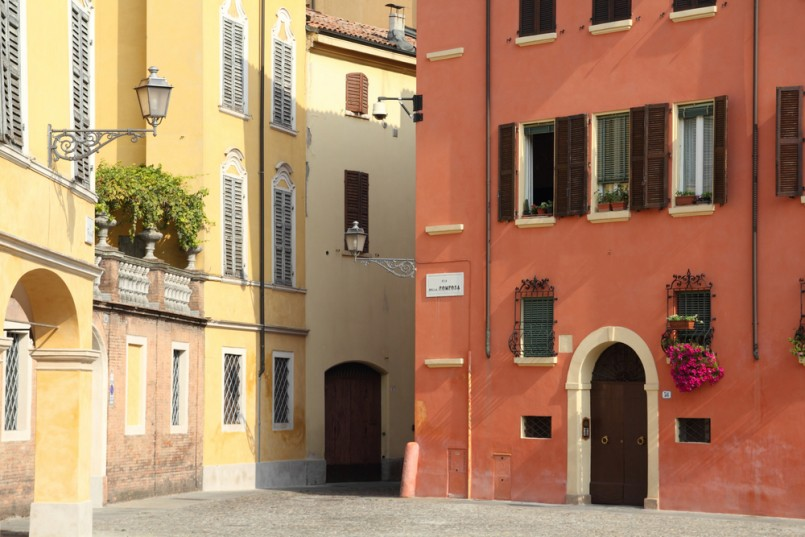 Modena, Italy - Emilia-Romagna region. Colorful Mediterranean architecture