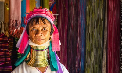 Women of the Kayan Lahwi tribe known for wearing neck rings, brass coils to extend the neck