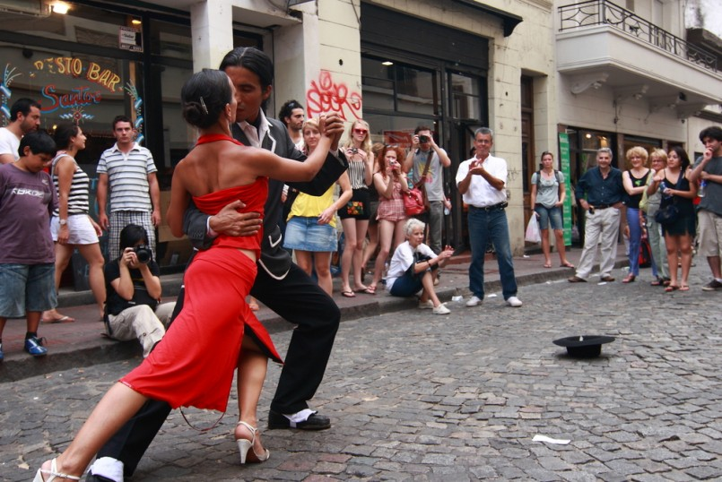 A pair of tango dancers perform on February 25, 2009 in San Telmo in Buenos Aires, Argentina. The tango dance originated from Buenos Aires and Montevideo, Uruguay