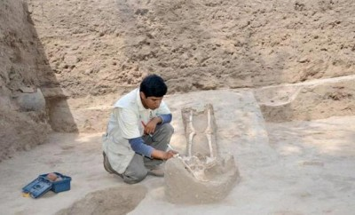 Archaeologist studying ruins in Peru
