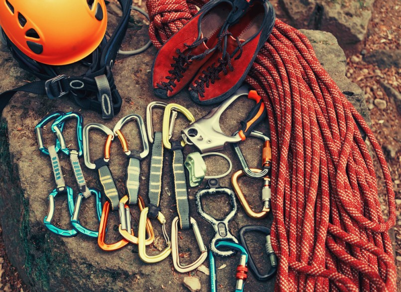 Set of outfit for climbing sport outdoor, top view