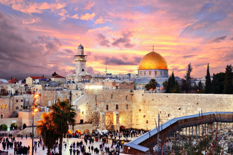 Skyline of the Old City at he Western Wall and Temple Mount in Jerusalem, Israel