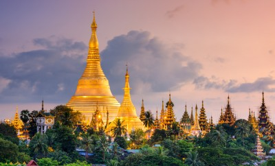 Yangon, Myanmar view of Shwedagon Pagoda at dusk