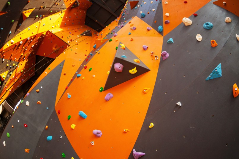 Artificial climbing wall in an indoor climbing gym