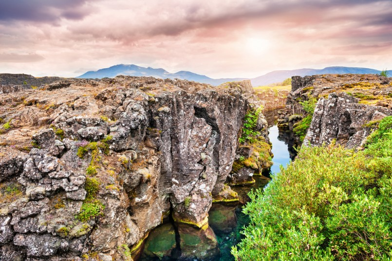 Beautiful cliffs and deep fissure in Thingvellir National Park. Southern Iceland