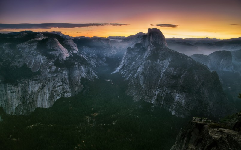 Half Dome and Yosemite Valley in Yosemite National Park during colorful sunset