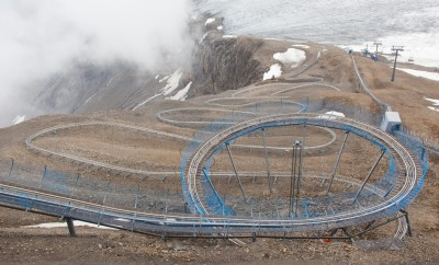 Europe's highest toboggan run in the Swiss mountains