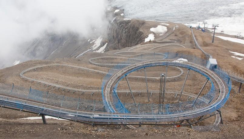 Europe's highest toboggan run in the Swiss mountains