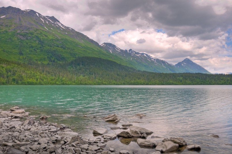 A view of Johnson Pass and Upper Trail Lake on the Kenai Peninsula in Moose Pass, Alaska