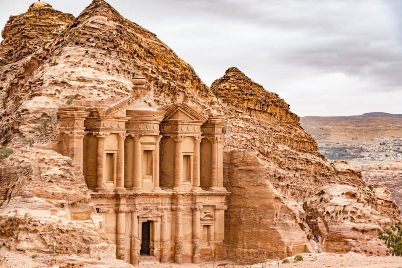 Ad Deir in the ancient Jordanian city of Petra, Jordan. Petra has led to its designation as a UNESCO World Heritage Site. Ad Deir is known as The Monastery
