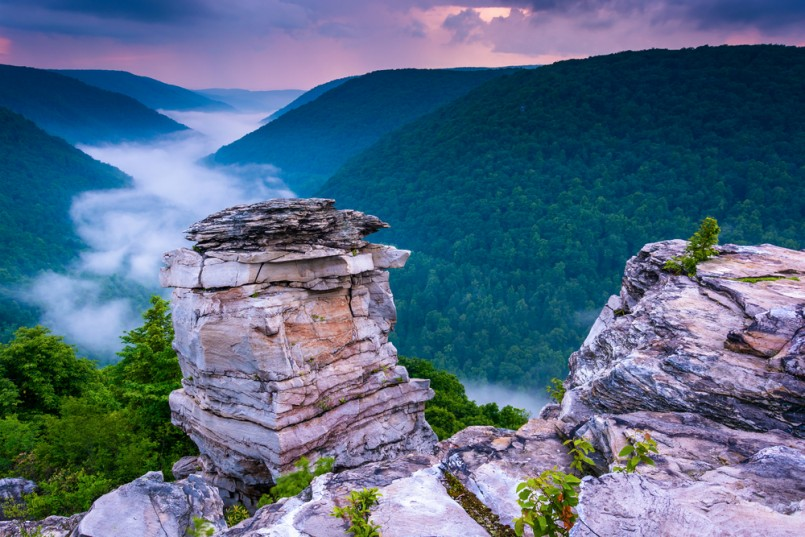 Fog in the Blackwater Canyon at sunset, seen from Lindy Point, Blackwater Falls State Park, West Virginia