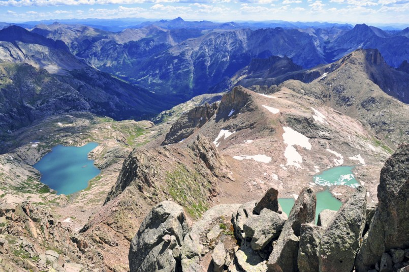 High altitude clear alpine lakes in the Rocky Mountains, as viewed from a mountain summit above