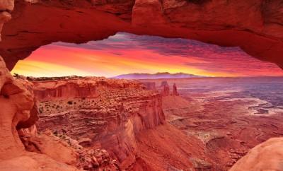 Colorful sunrise in Mesa Arch, Canyonlands National Park near Moab, Utah, USA