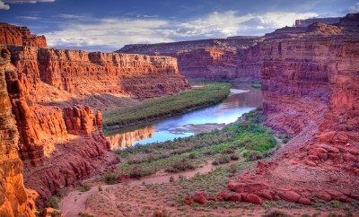 The Colorado River that runs through Canyonlands National Park is located near the city of Moab, Utah. Processed using HDR
