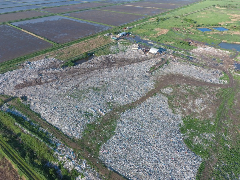 View landfill bird's-eye view. Landfill for waste storage. View from above