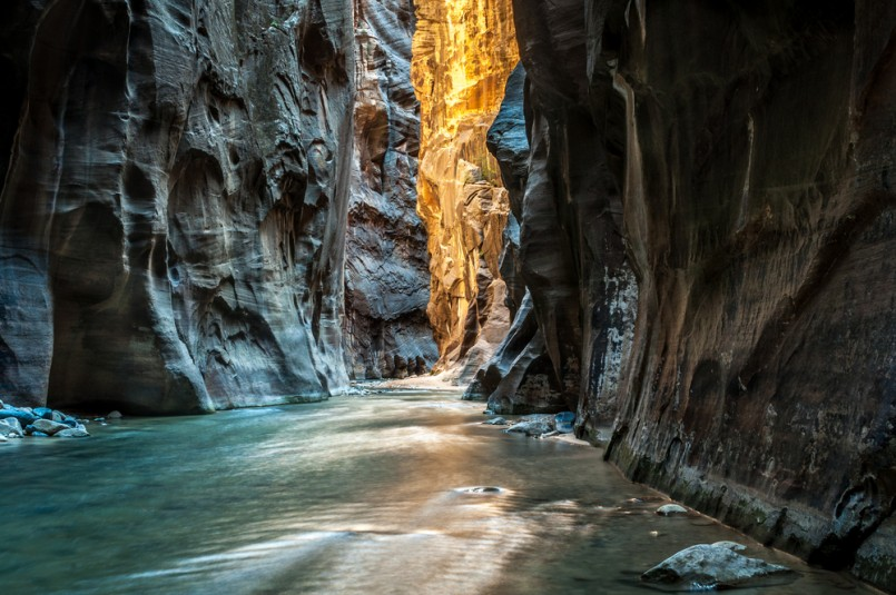 Wall Street - Virgin River, Zion National Park. The light at the end of the tunnel