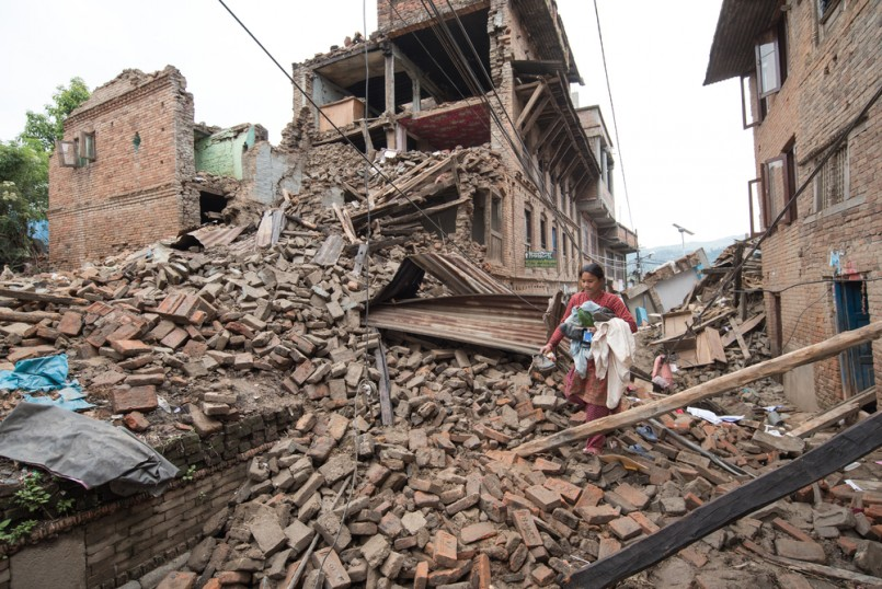 soldiers with debris of buildings near Sobhavagbati bridge damaged after the major earthquake