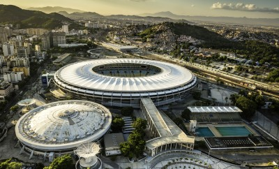 Aerial photo of Maracana Stadium with panorama of Rio De Janeiro