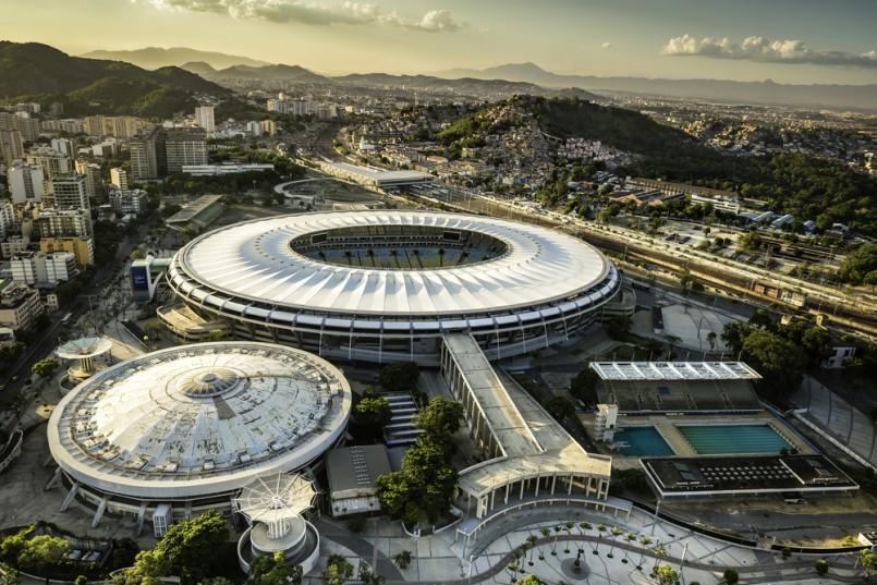 Aerial photo of Maracana Stadium with panorama of Rio De Janeiro